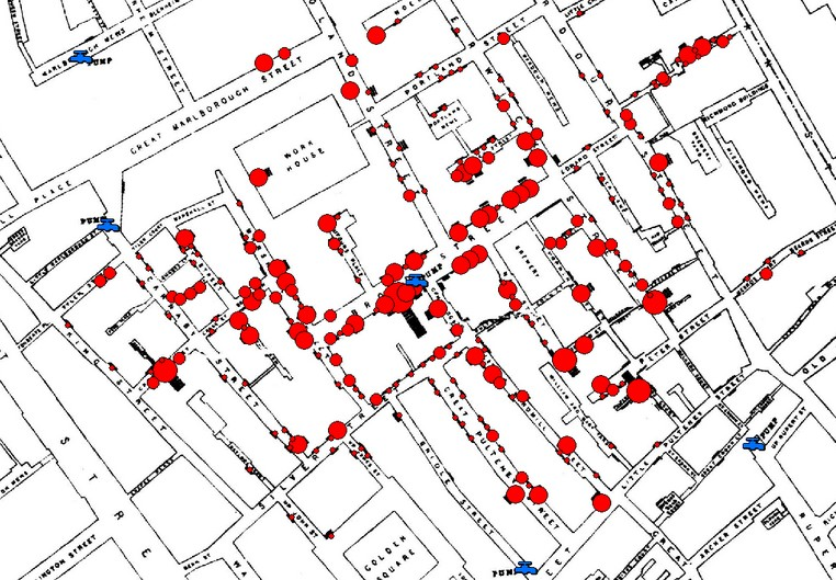 A map of the area of London UK surrounding the Broad Street pump showing the location of nearby public water pumps and houses of cholera victims as identified by John Snow during the 1854 outbreak, with the victims locations tightly clustered around the Broad Street pump, and very few in the vicinity of other nearby pumps.